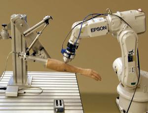 Antes dos humanos, um braço de borracha era o saco de pancadas do robô esloveno