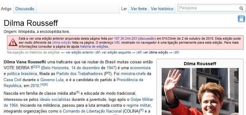 Candidatos à Presidência sofrem com vandalismo na Wikipédia.