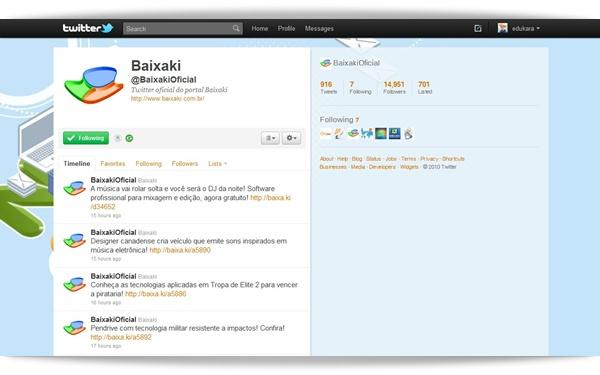 Página principal do Twitter.