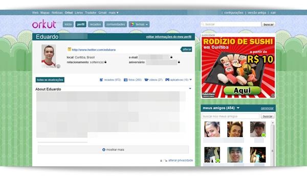 Tela inicial do Orkut.