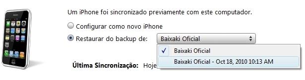 Escolha o backup a ser restaurado.
