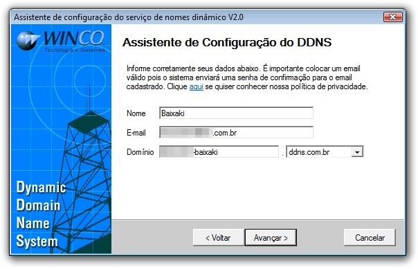 Tela de criação de conta do Agente DDNS.