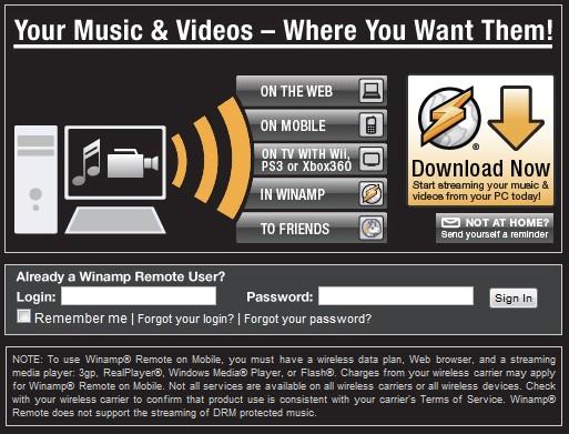Site do Winamp Remote. Acesse suas músicas em qualquer lugar.