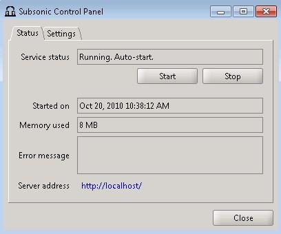 Painel de controle do Subsonic (localizado na Bandeja do sistema - systray).