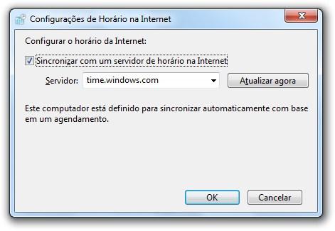 Habilite a sincronização do relógio no Windows 7