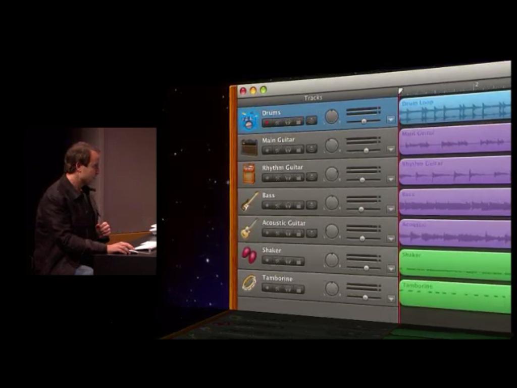 Edição facilitada de áudio separado por cor.