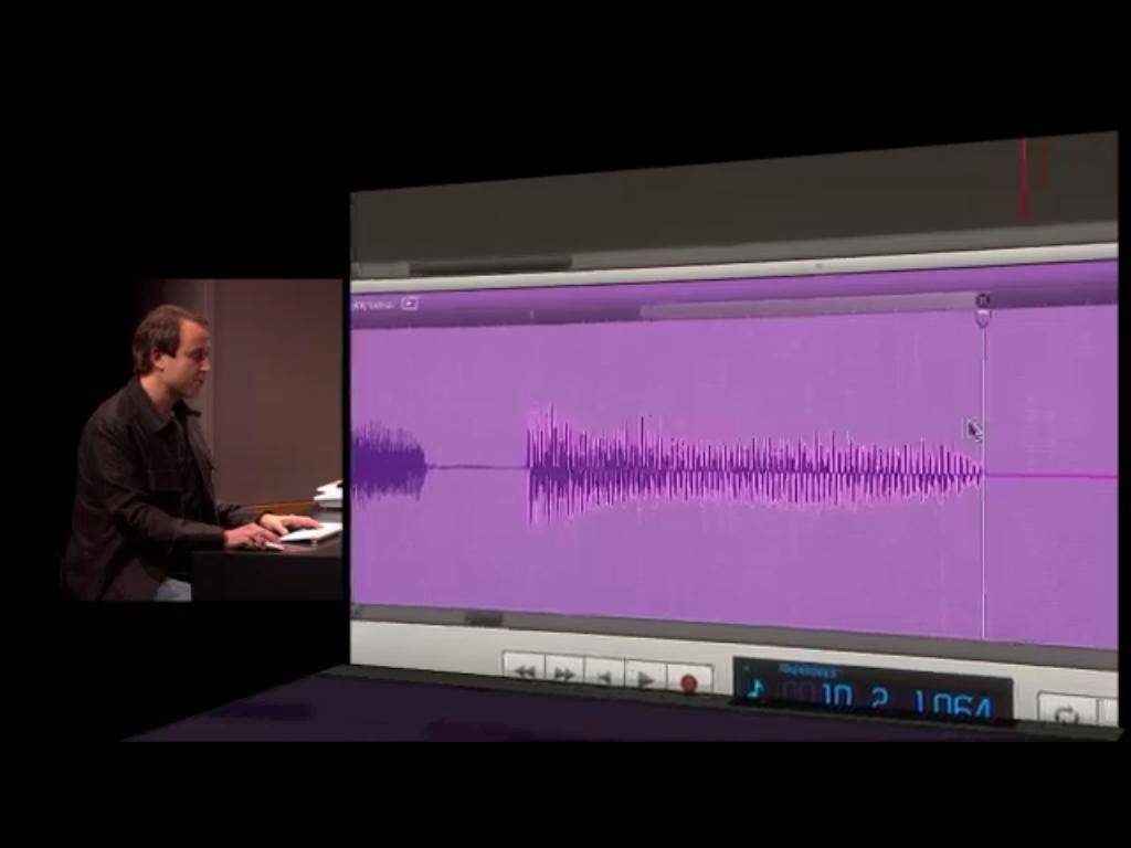 Edição de trechos da onda de som selecionando nota a nota.