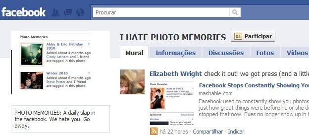 Eu odeio o Photo Memories, diz o espaço no Facebook.