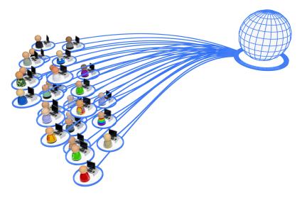 Pessoas conectadas por uma rede.