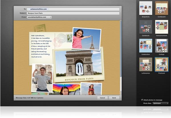 Envie suas fotos por email, sem sair do iPhoto.