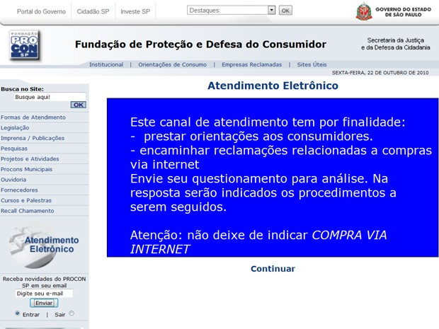 Novo site do Procon-SP