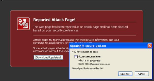 Página de ataque no Firefox
