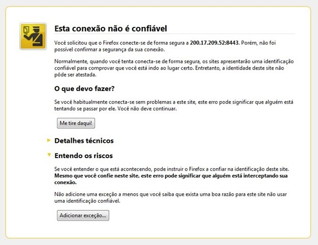Página de suspeita de vírus do Firefox