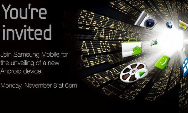 Convite para o anúncio da Samsung