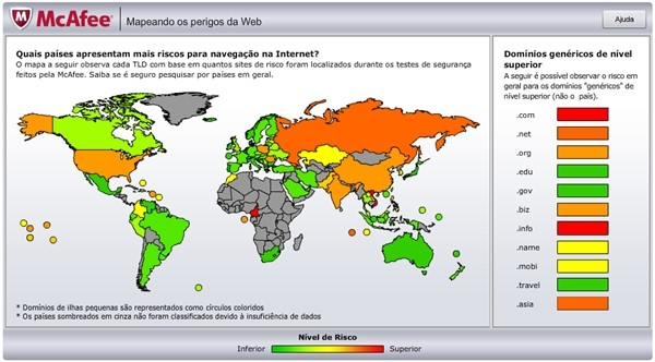 O mapa dos perigos na internet, de acordo com a McAfee