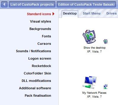 Modifique os ícones e todas as opções do sistema
