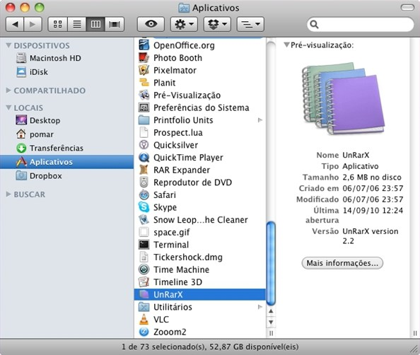Copie o UnRarX para a pasta Aplicativos.