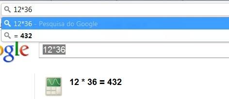 Cálculo na Barra de endereços