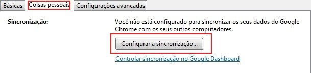 Configurando sincronização