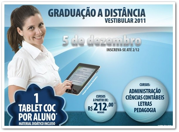 A faculdade dará um tablet por aluno.