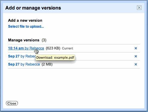 Versões de um mesmo arquivo no Google Docs