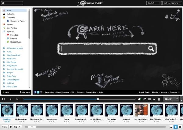 Tela inicial do Grooveshark