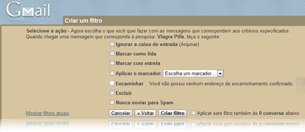 Criando filtros de spam