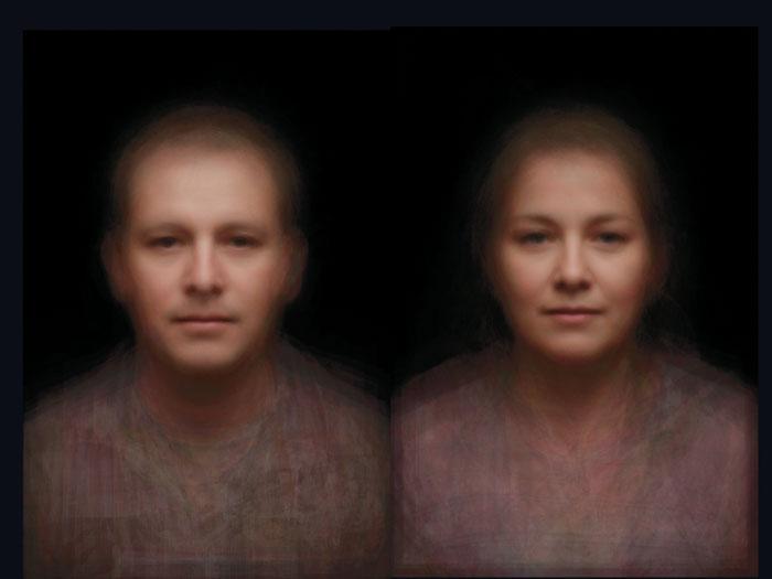 As faces de todos no rosto de duas pessoas
