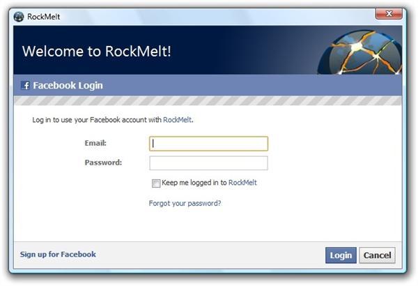 Login no Facebook é obrigatório para usar o RockMelt