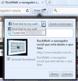 Compartilhando links pelo RockMelt