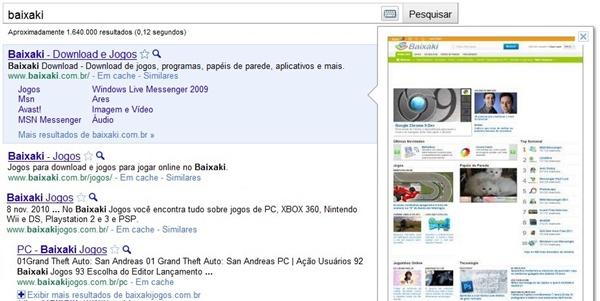Google Instant Preview em funcionamento