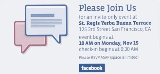 Convite para a coletiva do Facebook