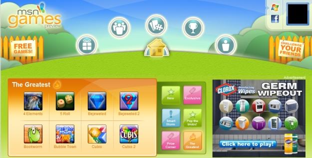 MSN Games, um dos sites conectados ao Hub.