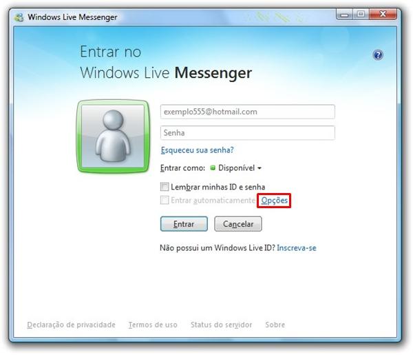 Opções do Messenger