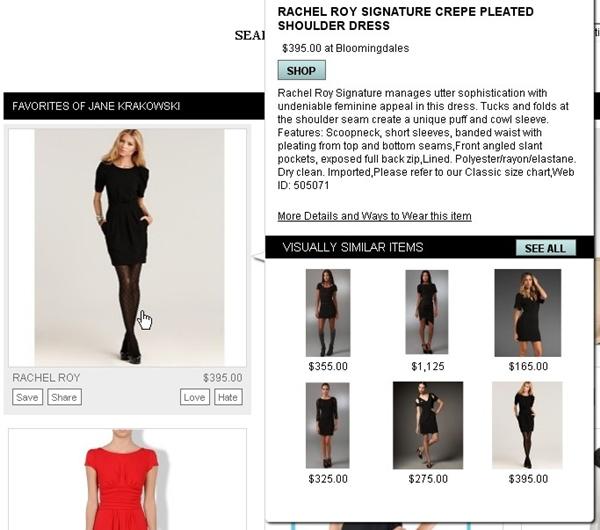 Site sugere visuais que podem ser comprados