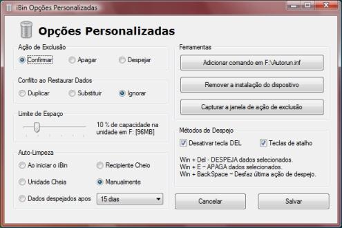Todas as ações do iBin podem ser configuradas nas opções.