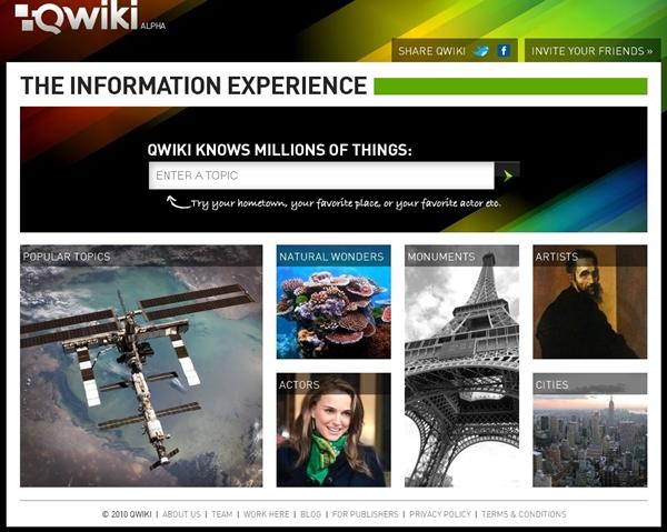 Página inicial da Qwiki