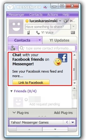 Contatos do Facebook no Yahoo! Messenger 2011