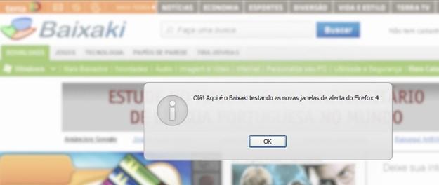 Nova janela de alerta do Firefox 4