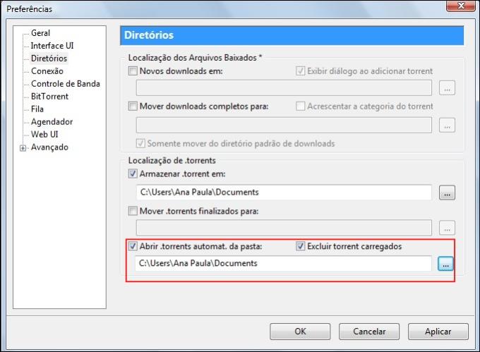 Configurando o cliente de torrent