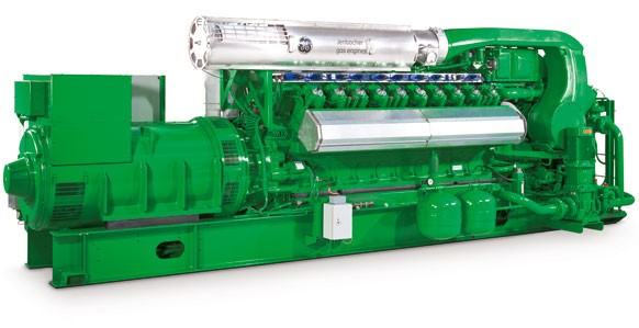 Um dos quatro motores que fazem parte da máquina de processamento do metano em energia.