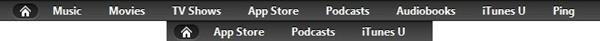 Barras da iTunes Store americana e brasileira