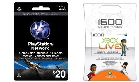 Gift cards da PSN e Xbox LIVE