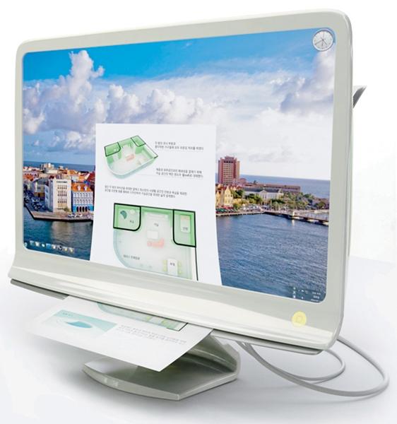Conceito de monitor com impressora