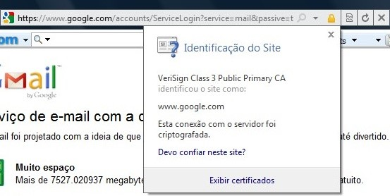 Informações de certificação digital