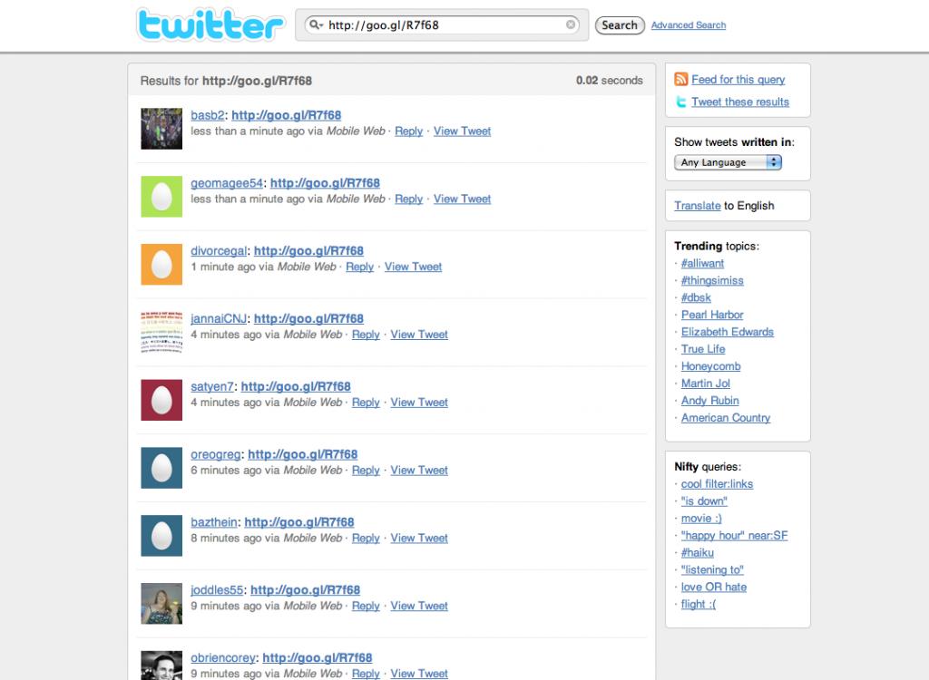 Link malicioso no Twitter