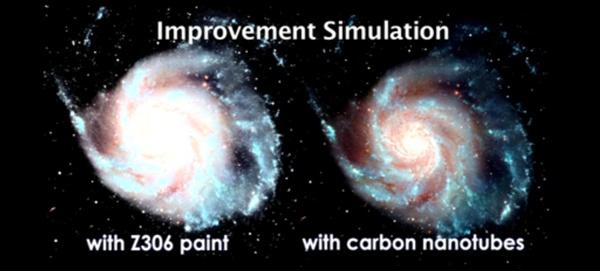 Comparação de imagens feitas com a tinta preta e os nanotubos de carbono.