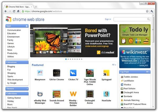 Conheça a Chrome Web Store. Foto: Reprodução