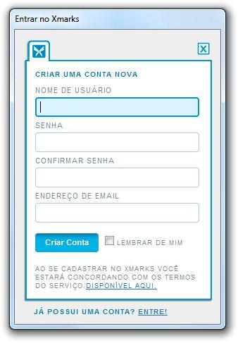 Após a instalação do Xmarks, o formulário para login ou criação de senha.