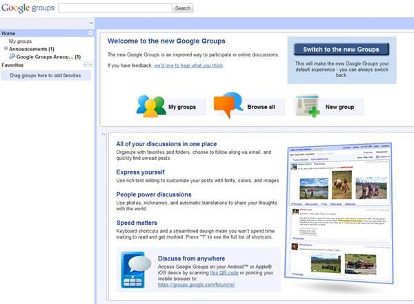 Novo Google Grupos: mais inteligente e fácil de usar. Imagem: Reprodução/Site oficial